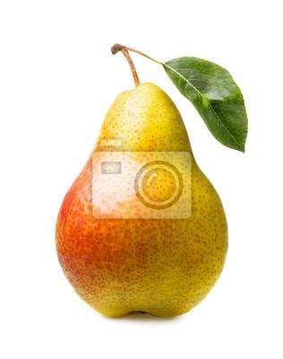 Naklejka ripe pear with leaf isolated on white background