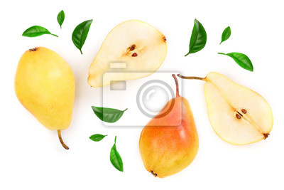 Naklejka ripe red yellow pear fruits with leaves isolated on white background. Top view. Flat lay pattern