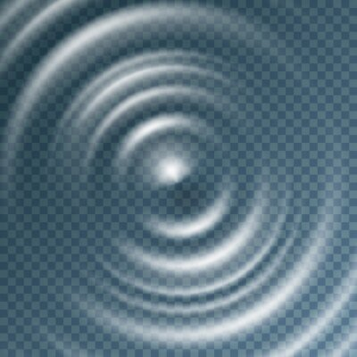 Ripple, splash water waves surface from drop isolated on transparent background. Sound impact effect top view. Vector circle liquid or swirl round texture template..