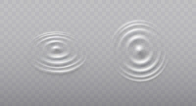 Ripple, splash water waves surface from drop isolated on transparent background. White sound impact effect top view. Vector circle water, liquid shampoo or gel swirl round texture template