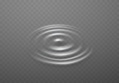 Ripple, splash water waves surface from drop isolated on transparent background. White sound impact effect top view. Vector puddle, liquid shampoo or gel circular texture template..