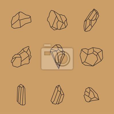 Rock Stone Crystal Minimalistyczny Flat Line Outline Ikona Skoku Ikona Piktogramu