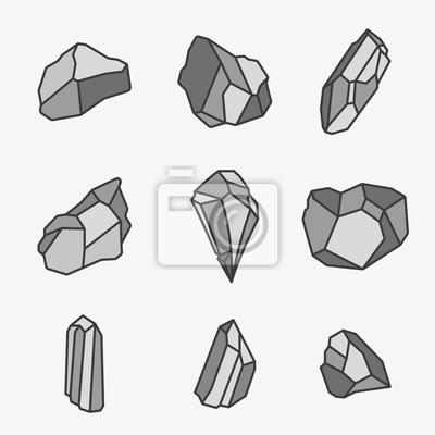 Rock Stone Crystal Minimalistyczny kolor Flat Line Outline Ikona Skoku Ikona Piktogramu