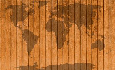 Naklejka rocznik mapa drewnianym tle tekstury