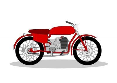 Naklejka rocznik motocykl ilustracji na białym tle