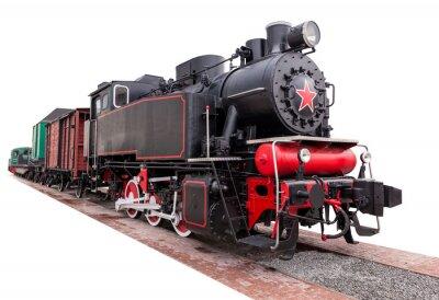 Naklejka rocznika, duży, pociąg parowy
