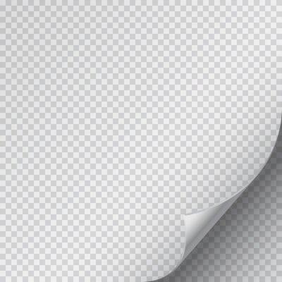 Róg zawinięcia strony na pustym arkuszu papieru. Wektor krotnie naklejki z klapką na białym tle na przezroczystym tle.
