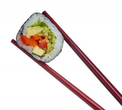 Naklejka Roll Sushi z pałeczkami na białym tle