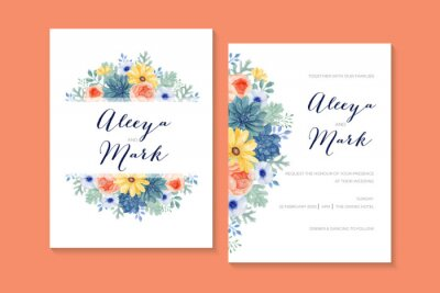 Romantic Watercolor Floral Wedding Invitation with Succulent, Ranunculus, Daisy, Anemone and Dusty Miller Leaves