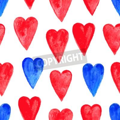 Romantyczne bezszwowe tło z czerwonym i niebieskim sercem akwarela. ilustracja