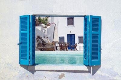 Naklejka Romantyczne wakacje na wyspie Santorini, Grecja