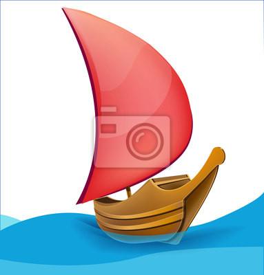 Romantyczny czerwono żaglem łódź