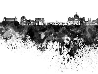 Naklejka Rome skyline czarno akwarelą