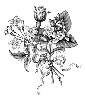 Rose flowers vintage Barokowy wiktoriański ogród dzikie kwiatowy ornament ramka granicy bukiet przewiń kilka grawerowane retro dekoracyjny tatuaż czarno-biały filigran wektor