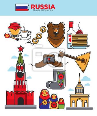 Rosja podróże turystyczne słynne symbole lub Związek Radziecki turystyki przyciągania ikon wektorowych
