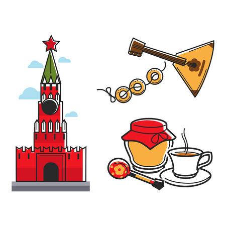 Rosja Symbole Związku Radzieckiego dla ZSRR Rosyjski podróży atrakcją turystyczną wektorowe ikony