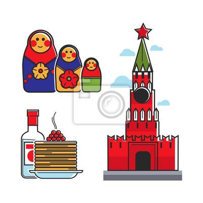 Rosja Związki Radzieckie Unii dla ZSRR Rosyjski turystyki atrakcją turystyczną wektorowe ikony