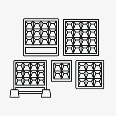 Rosyjski blok ogrodzenia betonowego Minimalistyczne linii płaskiej koło stałe kreska ikona piktogram Symbol zestaw kolekcja