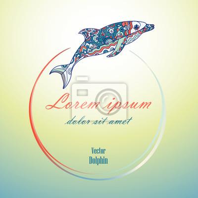 Round ramka z delfinów