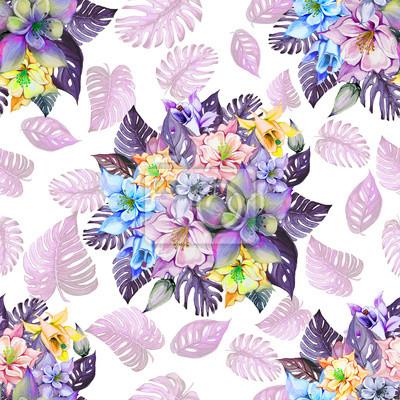 Round wiązka piękni kolombiny kwiaty, Aquilegia lub egzotyczny monstera opuszcza na białym tle. Malarstwo akwarelowe. Tropikalny kwiatowy wzór.