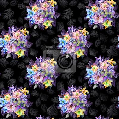 Round wiązka piękni kolombiny kwiaty, Aquilegia lub egzotyczny monstera opuszcza na czarnym tle. Malarstwo akwarelowe. Tropikalny kwiatowy wzór.