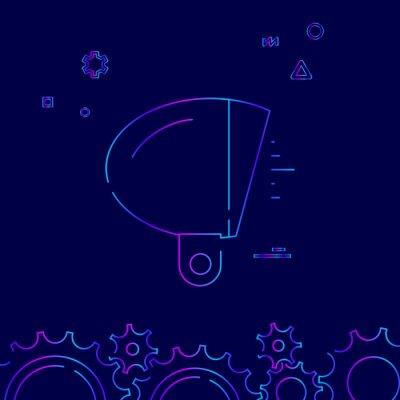 Rower Vintage reflektorów wektor linii ikona. Akcesoria rowerowe gradientu Symbol, piktogram, znak. Ciemnoniebieskie tło. Światło streszczenie tło geometryczne. Powiązana dolna granica