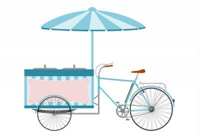 Naklejka Rower z chłodnia i parasolem zrobić Sprzedaży lodów.