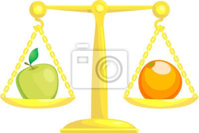 Równoważenie lub porównywania jabłek z pomarańczami