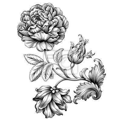 Róża kwiat rocznika barokowej wiktoriańskiej ramki granicy kwiatowy ornament liść przewijania grawerowane retro wzór dekoracyjny projekt tatuaż czarno-biały filigran wektor kaligrafii