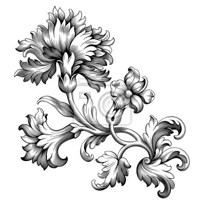 Róża piwonia kwiat kwiatowy rocznik wina barokowy wiktoriański ramka granica kwiatowy ornament liść przewiń grawerowany retro wzór wzór dekoracyjny tatuaż czarno-biały filigran kaligrafia wektor