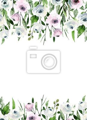 Róże akwarelowe, kwiatowy tło, ręcznie malowane białe kwiaty. Ilustracja na zaproszenie na ślub, karty z pozdrowieniami, ulotki, plakat, projekt transparentu. Pojedynczo na białym tle.
