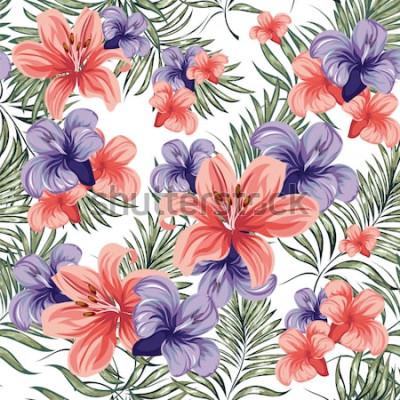 Naklejka Róże Kwitnące rośliny kwiaty wiosna-lato. Wzór. Grafika wektorowa