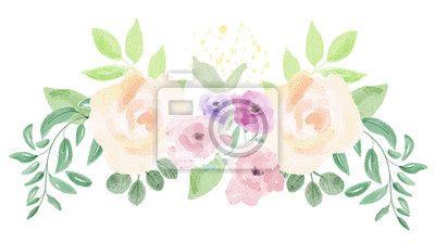 Naklejka Rozmieszczenie kwiatów akwarelowych. Malowanie cyfrowe.