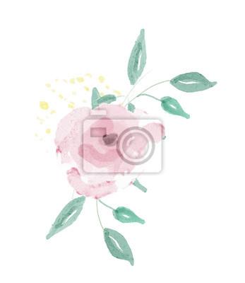 Rozmieszczenie kwiatów akwarelowych. Malowanie cyfrowe.