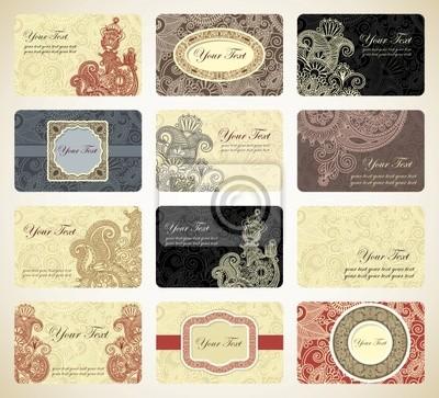 Różne rocznika ozdobnych kolekcja wizytówka