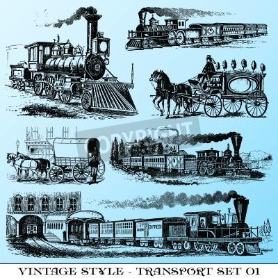Naklejka różne Vintage styl ilustracje - starożytny zestaw transportowy