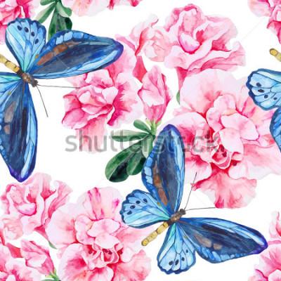 Naklejka Różowa azalia i niebieskie motyle. Bez szwu, ręcznie malowany, wzór akwareli. Tło wektor