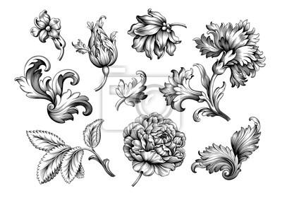 Różowa piwonia kwiat rocznika barokowa wiktoriański rama granicy kwiatowy ornament liść przewijania grawerowane retro wzór dekoracyjny projekt tatuaż czarno-biały filigran kaligraficzne wektor zestaw