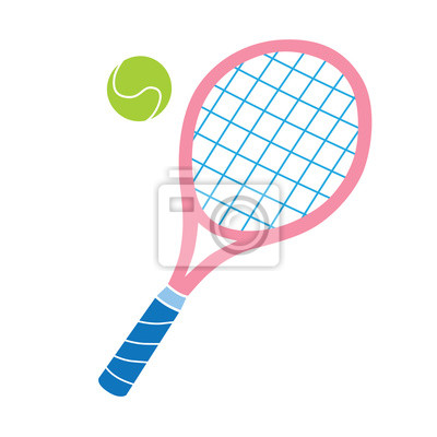 Naklejka Różowa rakieta tenisowa i ikona kulki wektorowej.