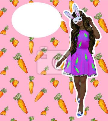Różowa ramka z dziewczyną Bunny