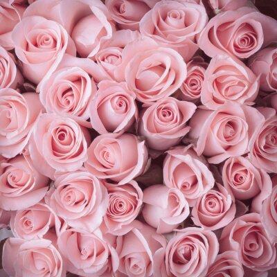 Naklejka różowa róża bukiet kwiatów rocznika tle