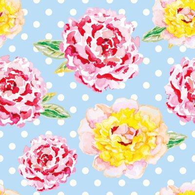 Naklejka Różowe i żółte piwonie na jasnoniebieskim polka dot tle. Akwarela szwu z kwiatami. Shabby chic.