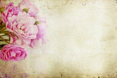 Naklejka Różowe róże na tle archiwalne