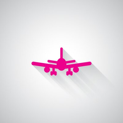 Naklejka Różowy ikonę Samolot internetowej na jasnoszarym tle