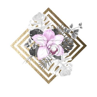 rozowy kwitnienie storczyków i liści palmowych na abstrakcyjne geometryczne złotym tle tekstury