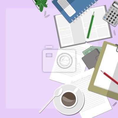 Różowy przestrzeń robocza z kawą i dokumentów.