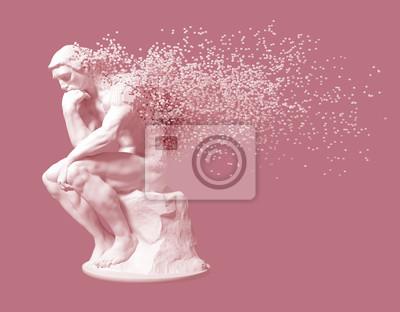 Rozpad Myśliciela Rzeźby Na Różowym Tle