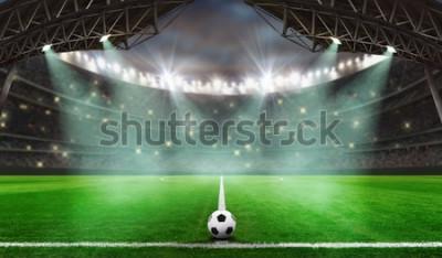 Naklejka rozpoczyna się mecz piłkarski - Piłka na stadionie