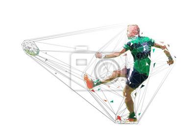Rugby gracz kopie piłkę, odosobniona niska poli- wektorowa ilustracja. Sport drużynowy