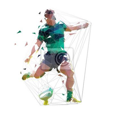 Rugby gracz kopie piłkę, odosobniona niska poligonalna wektorowa ilustracja